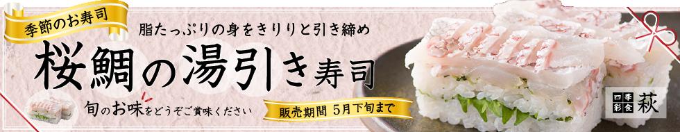 生さば寿司、懐石料理店の押し寿司、桜鯛の湯引き寿司